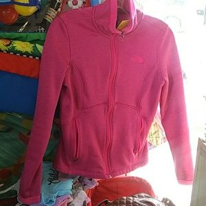 The North Face pink jacket witb pockets